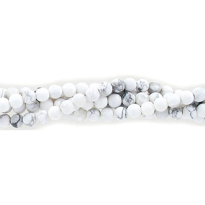 Semi-precious round beads, 4mm, matte white howlite, approx. hole size 0.80-1mm, 16 inch strand
