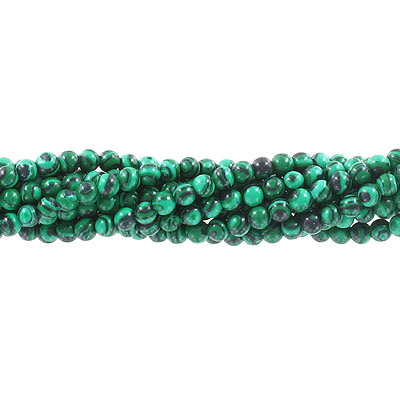 Semi-precious round beads, 4mm, new malachite, synthetic, approx. hole size 0.80-1mm, 16 inch strand