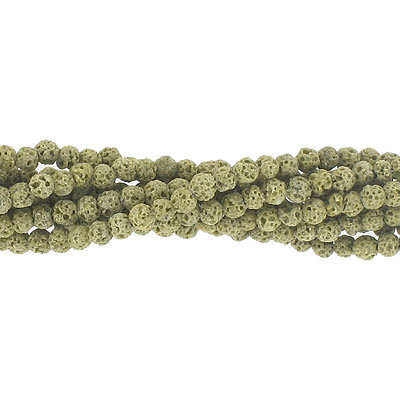 Semi-precious round beads, 4mm, olive lava, approx.hole size 0.80-1mm, 16 inch strand