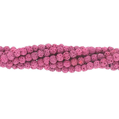 Semi-precious round beads, 4mm, pink lava, approx.hole size 0.80-1mm, 16 inch strand