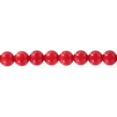 Semi-precious faceted beads, 4mm, red coral, 16 inch strand