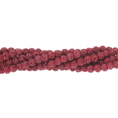 Semi-precious round beads, 4mm, red lava, approx.hole size 0.80-1mm, 16 inch strand