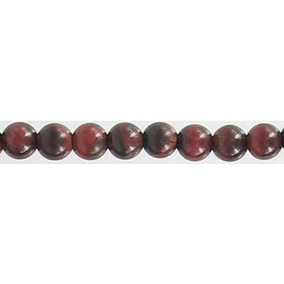 Semi-precious round beads, 16 strand, red tiger's eye, 4mm