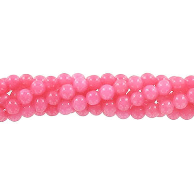 Semi-precious round beads, 4mm, strawberry jade (candy), approx. hole size 0.80-1mm, 16 inch strand