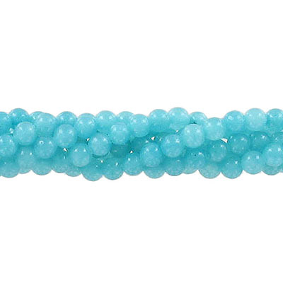 Semi-precious round beads, 4mm, teal jade (candy), approx. hole size 0.80-1mm, 16 inch strand