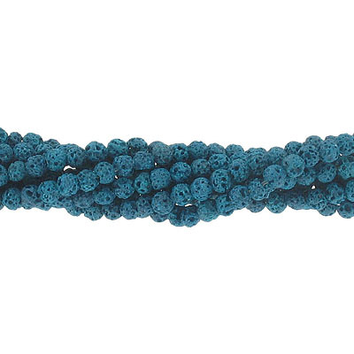 Semi-precious round beads, 4mm, turquoise lava, approx.hole size 0.80-1mm, 16 inch strand