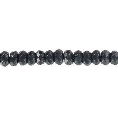 Semi-precious faceted beads, 4mm, rondelle, black onyx agate, 16 inch strand