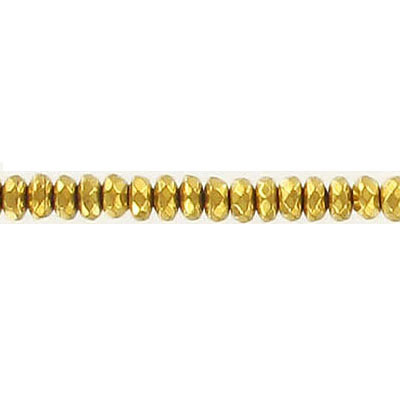 Semi-precious faceted beads, 4mm, rondelle, gold hematite, 16 inch strand