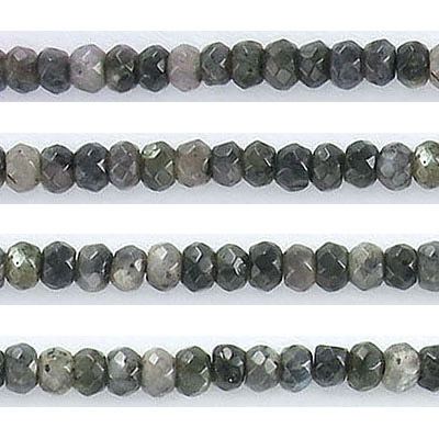 Semi-precious faceted beads, 4mm, rondelle, multicolor grey jade, approx. hole size 0.80-1mm, 16 inch strand