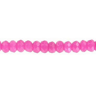 Semi-precious faceted beads, 4mm, rondelle, pink jade, dyed, 16 inch strand