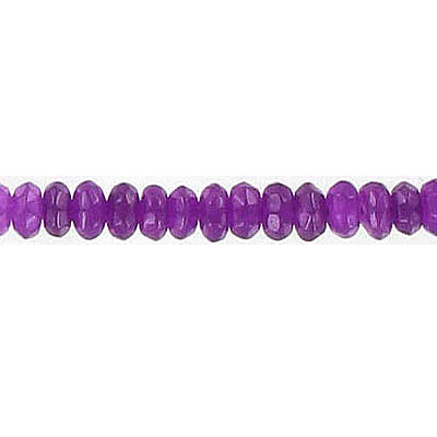 Semi-precious faceted beads, 4mm, rondelle, purple jade, dyed, 15.5 inch strand