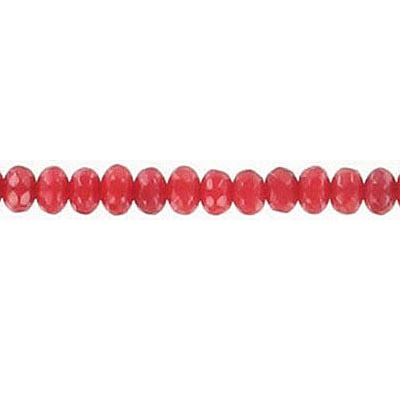 Semi-precious faceted beads, 4mm, rondelle, red coral, 16 inch strand