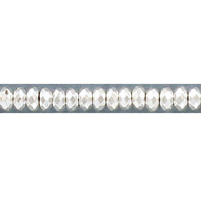 Semi-precious faceted beads, 4mm, rondelle, extra electroplate, silver hematite, approx. hole size 0.80-1mm, 16 inch str