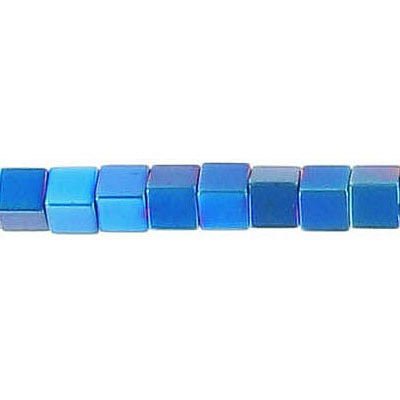 Semi-precious beads, 4x4mm, cube, blue hematite, approx. hole size 0.80-1mm, 16 inch strand