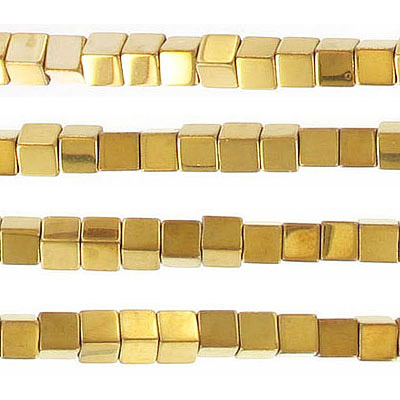 Semi-precious beads, 4x4mm, cube, gold hematite, approx. hole size 0.80-1mm, 16 inch strand