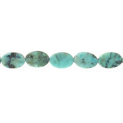 Semi-precious beads, 4x6mm, flat oval, african turquoise, 16 inch strand