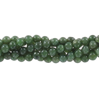 Semi-precious round beads, 5mm, nephrite jade, approx. hole size 0.80mm-1mm, 16 inch strand
