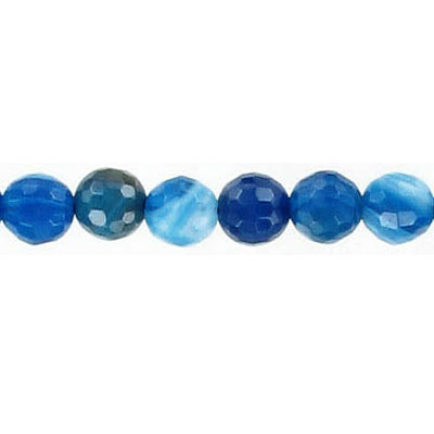 Semi-precious faceted beads, 6mm, blue agate with white, 16 inch strand