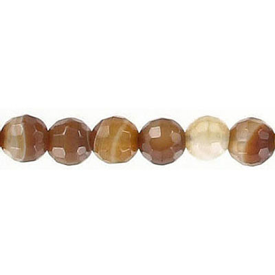Semi-precious faceted beads, 6mm, brown agate with veins, 16 inch strand