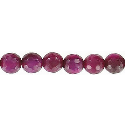 Semi-precious faceted beads, 6mm, fuchsia agate, 16 inch strand