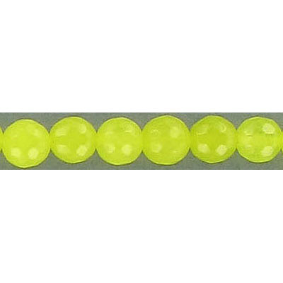 Semi-precious faceted beads, 6mm, round, fluorescent yellow jade, 16 inch strand