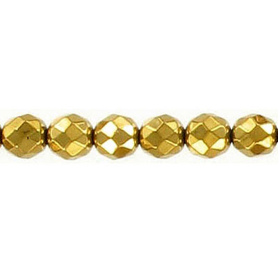 Semi-precious faceted beads, 6mm, gold hematite, 16 inch strand