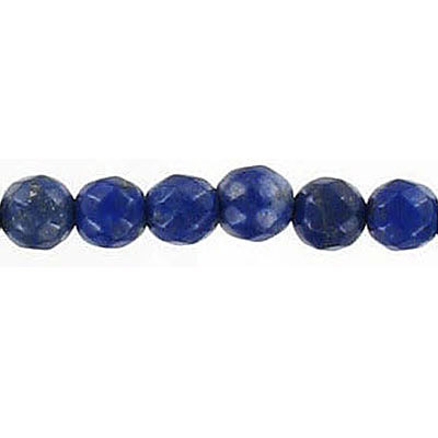 Semi-precious faceted beads, 6mm, lapis lazuli, 16 inch strand