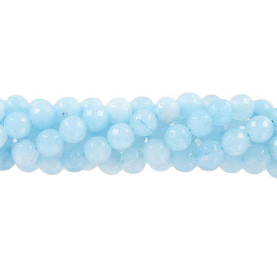 Semi-precious faceted beads, 6mm, light blue jade, approx. hole size 1mm, 16 inch strand