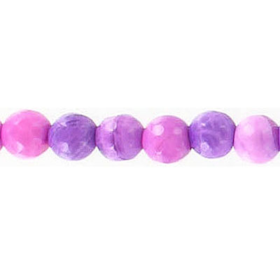 Semi-precious faceted beads, 6mm, fire agate, purple, 16 inch strand