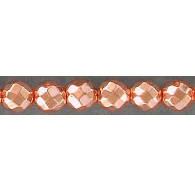 Semi-precious faceted beads, 6mm, round, rose gold hematite, hole size 0.80mm, 16 inch strand