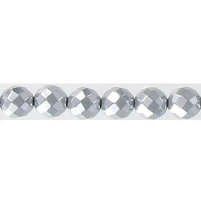 Semi-precious faceted beads, 6mm, silver hematite, 16 inch strand