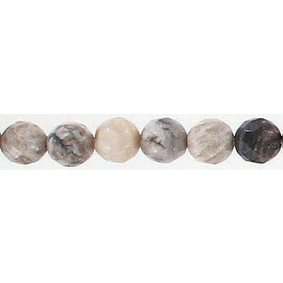 Semi-precious faceted beads, 6mm, round, silver leaf jasper, 16 inch strand