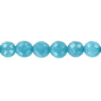 Semi-precious faceted beads, 6mm, teal jade, 16 inch strand
