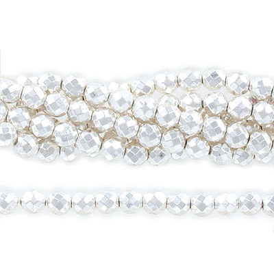 Semi-precious faceted beads, 6mm, extra-electroplated, hematite, silver, approx. hole size 1mm,  16 inch strand