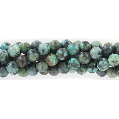 Semi-precious round beads, 6mm, African turquoise, approx. hole size 1mm, 16 inch strand