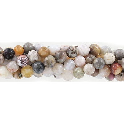 Semi-precious round beads, 6mm, bamboo agate, approx. hole size 1mm, 16 inch strand