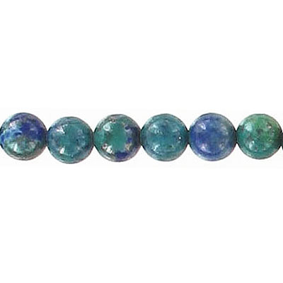 Semi-precious round beads, 6mm, blue/green lapis lazuli, dyed, 16 inch strand