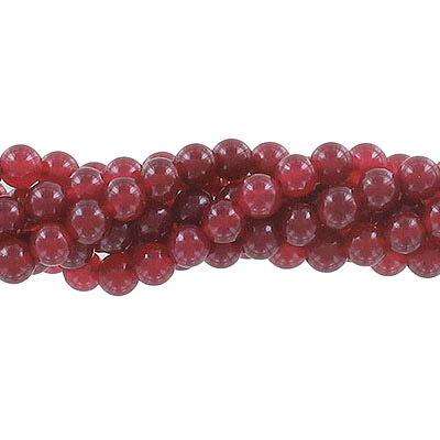 Semi-precious round beads, 6mm, burgundy jade (candy), approx. hole size 1mm, 16 inch strand