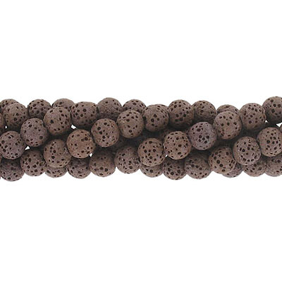 Semi-precious round beads, 6mm, coffee lava, approx. hole size 1mm, 16 inch strand