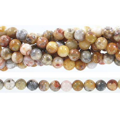 Semi-precious round beads, 6mm crazy lace agate,  approx. hole size 1mm, 16 inch strand