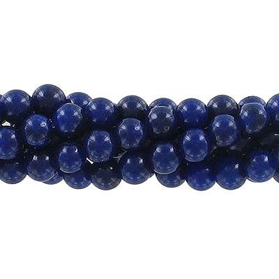 Semi-precious round beads, 6mm, dark blue jade (candy), approx. hole size 1mm, 16 inch strand