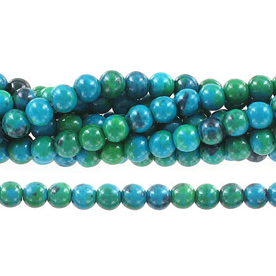 Semi-precious round beads, 6mm, chrysocolla, dyed,  approx. hole size 1mm, 16 inch strand