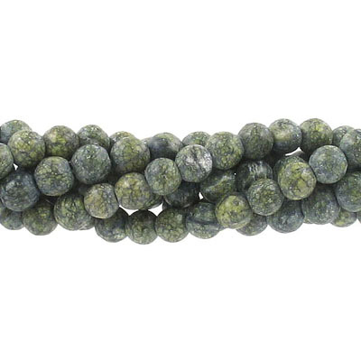 Semi-precious round beads, 6mm, howlite, dark green, approx. hole size 1mm, 16 inch strand