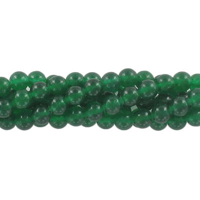 Semi-precious round beads, 6mm, dark green candy jade, approx. hole size 1mm, 16 inch strand
