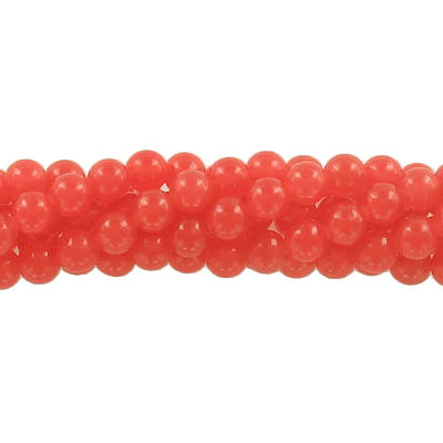 Semi-precious round beads, 6mm, flame red candy jade, approx. hole size 1mm, 16 inch strand