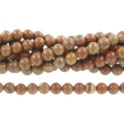 Semi-precious round beads, 6mm, gold lace agate,  approx. hole size 1mm, 16 inch strand