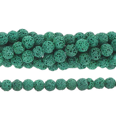 Semi-precious round beads, 6mm, green lava, approx. hole size 1mm, 16 inch strand