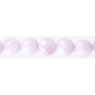 Semi-precious round beads, 6mm, approx. hole size 1mm, kunzite, 16 inch strand