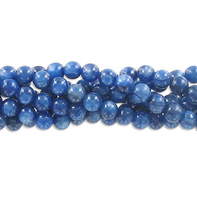 Semi-precious round beads, 6mm, kyanite, approx. hole size 1mm, 16 inch strand
