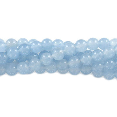Semi-precious round beads, 6mm, light blue candy jade, approx. hole size 1mm, 16 inch strand